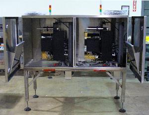 Auto-redundant label printer applicator open for harsh environments