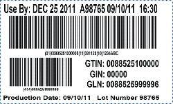 Labels example of Yum! Brands barcode compliance